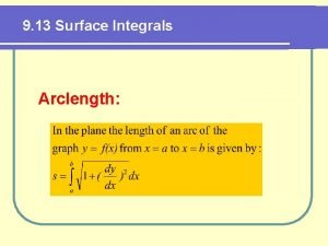 9 13 Surface Integrals Arclength Surface Area Def