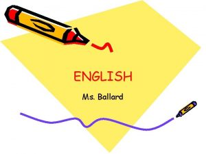 ENGLISH Ms Ballard English Skills Vocabulary Writing Speaking