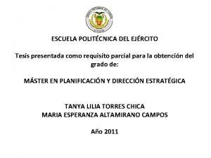 ESCUELA POLITCNICA DEL EJRCITO Tesis presentada como requisito