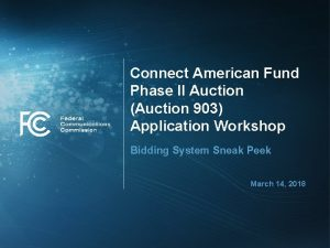 Connect American Fund Phase II Auction Auction 903