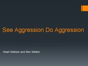See Aggression Do Aggression Noah Watson and Alex
