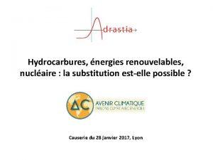 Hydrocarbures nergies renouvelables nuclaire la substitution estelle possible