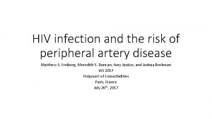HIV infection and the risk of peripheral artery