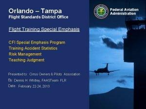 Orlando Tampa Flight Standards District Office Flight Training