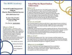 The HOPE Academy Parent Family Engagement Policy Plan