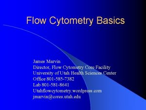 Flow Cytometry Basics James Marvin Director Flow Cytometry
