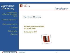 Supervision Monitoring La supervision dfinition objectifs et enjeux