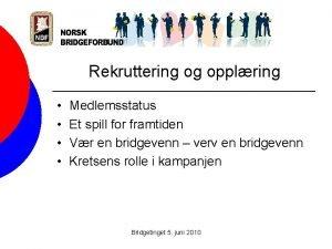 Rekruttering og opplring Medlemsstatus Et spill for framtiden