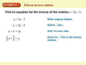 EXAMPLE 1 Find an inverse relation Find an