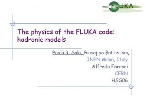 The physics of the FLUKA code hadronic models