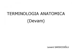 TERMINOLOGIA ANATOMICA Devam Levent SARIKCIOLU Anatomik terimler Latince