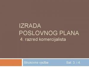 IZRADA POSLOVNOG PLANA 4 razred komercijalista Strukovne vjebe