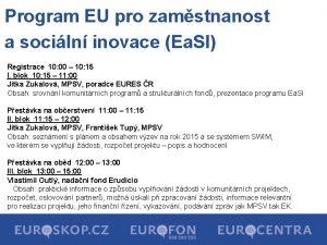 Program EU pro zamstnanost a sociln inovace Ea