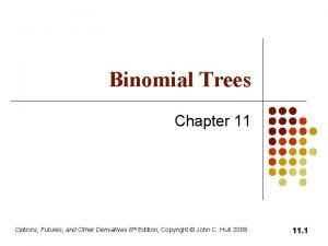 Binomial Trees Chapter 11 Options Futures and Other