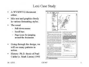 Lexi Case Study A WYSIWYG document editor Mix