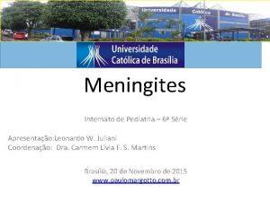 Meningites Internato de Pediatria 6 Srie Apresentao Leonardo