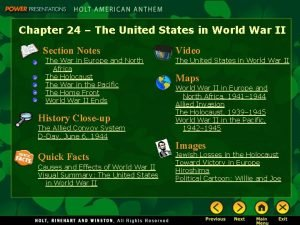 Chapter 24 The United States in World War