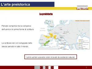 Larte preistorica La Storia La preistoria Periodo compreso