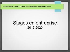 Responsable Lionel CUCALA IUT de Bziers dpartement RT