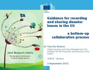 Guidance for recording and sharing disaster losses in