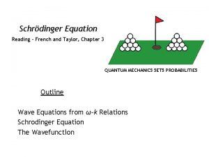 Schrdinger Equation Reading French and Taylor Chapter 3