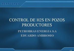 CONTROL DE H 2 S EN POZOS PRODUCTORES