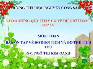 TRNG TIU HC NGUYN CNG SU CHO MNG