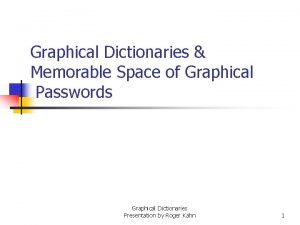 Graphical Dictionaries Memorable Space of Graphical Passwords Graphical