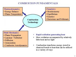 COMBUSTION FUNDAMENTALS Thermodynamics Energy Balance Flame Temperature Combustion