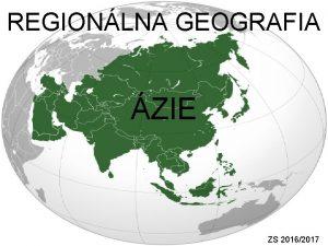 REGIONLNA GEOGRAFIA ZIE ZS 20162017 DEMOGRAFIA poet obyvateov