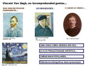 Vincent Van Gogh an Incomprehended genius SUA VIDA