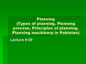 Planning Types of planning Planning process Principles of