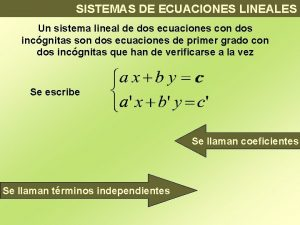 SISTEMAS DE ECUACIONES LINEALES Un sistema lineal de