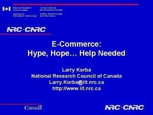 National Research Council Canada Conseil national de recherches