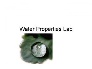 Water Properties Lab Water is Polar Covalent Nonpolar