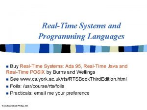 RealTime Systems and Programming Languages Buy RealTime Systems