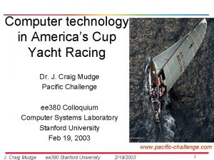 Computer technology in Americas Cup Yacht Racing Dr