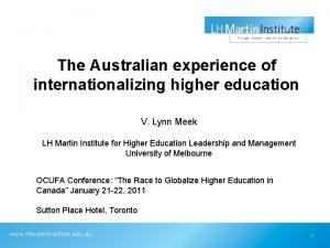 The Australian experience of internationalizing higher education V