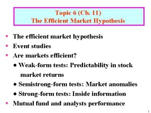 Topic 6 Ch 11 The Efficient Market Hypothesis