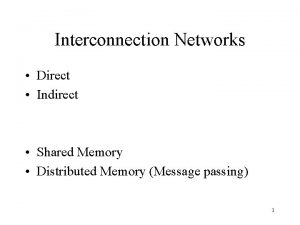 Interconnection Networks Direct Indirect Shared Memory Distributed Memory