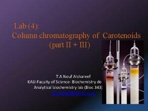 Lab 4 Column chromatography of Carotenoids part II