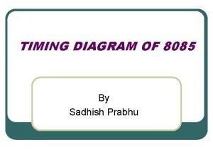 TIMING DIAGRAM OF 8085 By Sadhish Prabhu TIMING