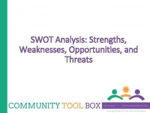 SWOT Analysis Strengths Weaknesses Opportunities and Threats Copyright