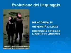 Evoluzione del linguaggio MIRKO GRIMALDI UNIVERSIT DI LECCE