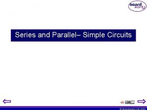 Series and Parallel Simple Circuits Boardworks Ltd 2003