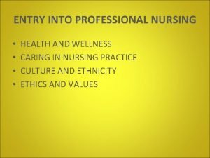 ENTRY INTO PROFESSIONAL NURSING HEALTH AND WELLNESS CARING