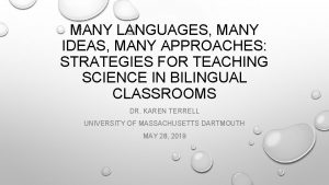 MANY LANGUAGES MANY IDEAS MANY APPROACHES STRATEGIES FOR
