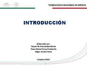 TECNOLGICO NACIONAL DE MXICO INTRODUCCIN Elaborado por Nayeli