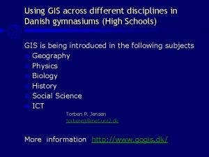 Using GIS across different disciplines in Danish gymnasiums
