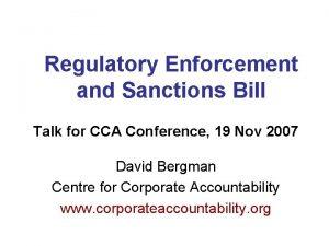 Regulatory Enforcement and Sanctions Bill Talk for CCA